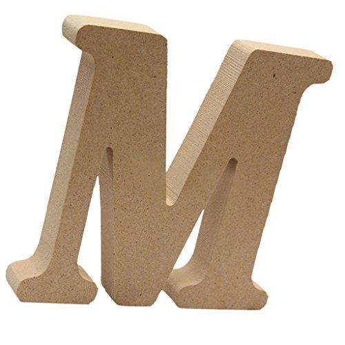Homyl Lettres Bois Mural Alphabet Letters Sign de A à Z Décoration Rustique Nordique pour Intérieur Extérieur - M