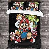 ZCMZMP Super Mario Bros - Juego de funda de edredón Mario, Luigi, Peach Blossom, juego Children, suave y cómodo, poliéster de alta calidad (Mario2,155 x 220 cm + 80 x 80 cm x 2)