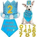 BIPY Blue Flower Crown Pet Birthday Hat Banadana Reutilizable Gato Perro Headwear Gorras Adorable Princesa Tocado Suministros de aseo Fiesta de Mascotas Decoración