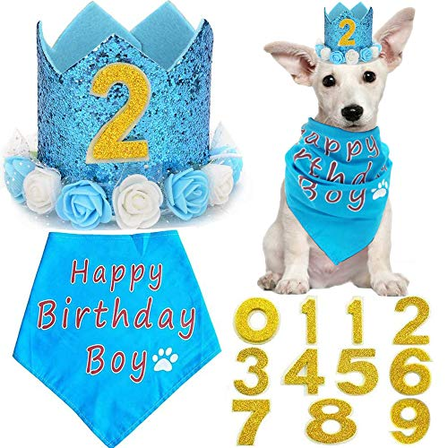 BIPY Blue Flower Crown Pet Birthday Hat Banadana Reutilizable Gato Perro Headwear Gorras Adorable Princesa Tocado Suministros de aseo Fiesta de Mascotas Decoración