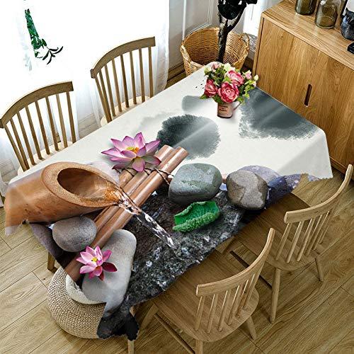Nappe Motif Lotus coloré 3D Feuille de Lotus Vert Fleurs Coton Nappe rectangulaire décor à la Maison Variation A6