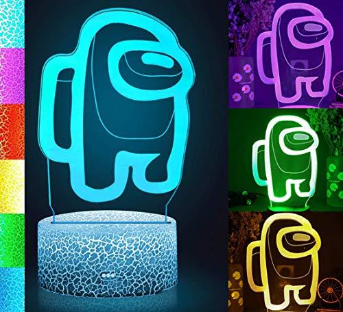 Lámpara de mesa de juego 3D, luz nocturna, para entre nosotros, ventiladores, con interruptor táctil alimentado por USB, luces LED de 7 colores, para niños regalos decoración de dormitorio