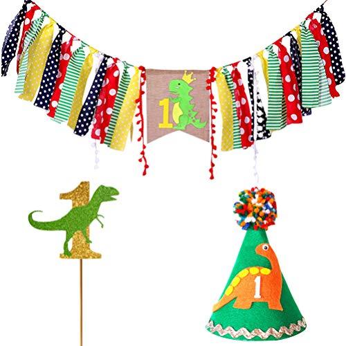 Amosfun Juego de 3 banderines para trona de cumpleaños con temática de dinosaurio para primer cumpleaños