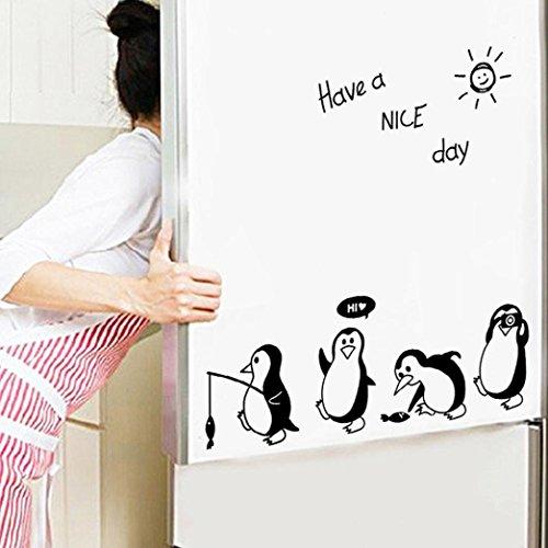 Pegatina Nevera Cocina Pegatinas de Pared Refrigerador Pegatinas de Vinilo Art Wall Decal Home Decor-Sencillo Vida, Lindo pingüino