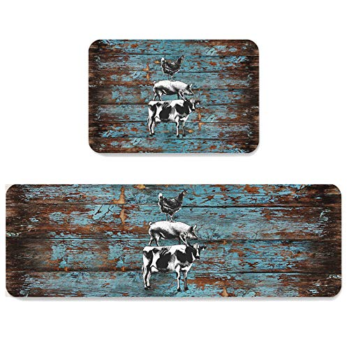 Kitchen Rugs and Mats Non Skid Washable Sets Farmhouse Anti Fatigue 2 Piece Set Non Skid Waterproof Standing Rugs Animal Decor Cow Pig Chicken Vintage Retro