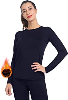 Womens Thermal Tops Fleece Lined Shirt Long Sleeve Base Layer