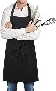 esonmus Delantal de Cocina de Poliéster con Tira de Cuello Ajustable y 2 Bolsillos para Hornear Jardinería Restaurante Barbacoa para Hombres y Mujeres (H21715B-Negro)