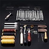 MKNZONE Cuir Outil de Bricolage Kit, 45 Pièces Outils de Maroquinerie Main Couture Cuir Bricolage d'Artisanat, Kit de Gravure sur Cuir Leather Craft Tools pour Piquer, Marquer, Travailler, Coudre#3