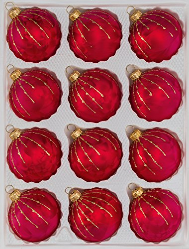 12 TLG. Glas-Weihnachtskugeln Set in Ice Rot Gold Regen- Christbaumkugeln - Weihnachtsschmuck-Christbaumschmuck