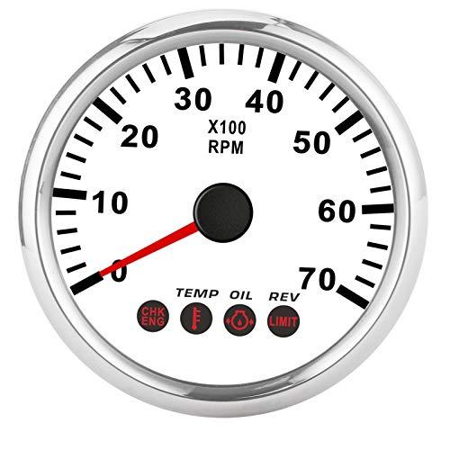 ボート タコメーター-Qiiluタコメーター、0?7000RPMタコメーターゲージ、油圧温度エンジン故障アラーム付きボートモーターサイクルトラック用(白い)