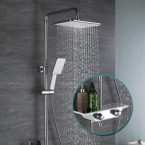 Bijjaladeva Antieke badkamer regendouche kraan systeem tippen douche douche Deluxe Suite - de stang voor het douchegordijn groot koper verguld wit chroom bad armatuur douche douche