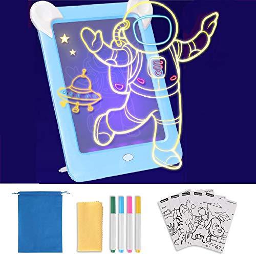 GOLDGE Led Zaubertafel Kinder Zeichentafel Maltafel Beleuchtend Magic Zeichentafel Set Maltafel Leuchttafel mit 4 Farbstiften Schablonen für Kinder