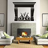 JXMN Chimenea Pegatinas de Pared Fuego decoración del hogar decoración de la Sala de Estar calcomanía de Vinilo Estufa Arte murales extraíbles Creativo cálido 56x68 cm