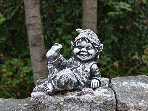 Sonderangebot: Stück 5 lustige kleine Gnome Trolle Wichtel aus Steinguss frostfest - 2
