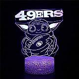 Lámpara de ilusión 3D, 49ERS Star A Wars Baby Yoda 3D Luz de noche para niños 16 colores cambiante automático interruptor táctil decoración escritorio lámparas regalo cumpleaños