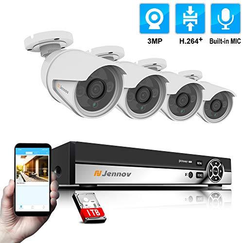 Jennov 4CH ÜberwachungskameraSet, 4 PoE IP 3MP HD Kamera mit NVR Rekorder, Videoüberwachung CCTV System für Innen Aussen Ink. 1TB Festplatte (IP66)…
