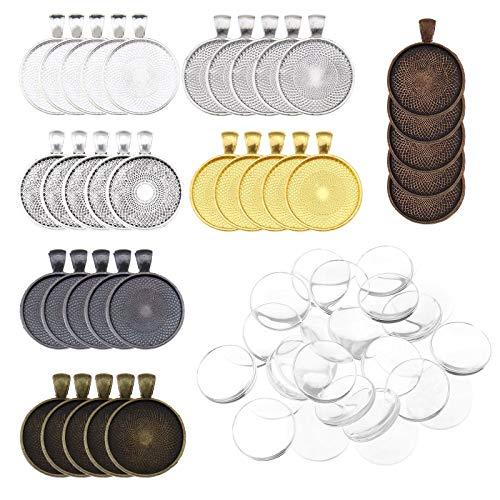YINETTECH 35 Stks Hanger Trays Ronde Bezel met Glas Cabochon Clear Dome Tegels 7-kleuren Voor het maken van DIY Sieraden Ketting Sleutelhanger Ring Maken