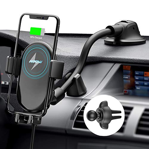 Mpow Car Phone Mount Wireless Charger, Qi Car Charger 10W/7.5W, Auto-Clamping Car Wireless Charger Air Vent Dashboard Car Mount, Compatible/w iPhone 11 Series/X/XR/8, Galaxy Note10/S10/S20 Series