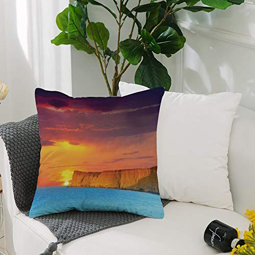 Washable Cushion Covers 20x20 Inch,Ocean Decor,Dramatic Seascape Summer Sunset with Huge Cliff Vibrant Colors Overcast Picture,Square Decorative Throw Pillowcases for Livingroom Sofa Bedroom 50cmx50cm