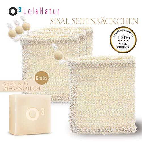 O³ LolaNatur Sisal Seifensäckchen // 4 Seifenbeutel + 1 Seife aus Ziegenmilch // Zum Aufschäumen und Trocknen der Seife // Massage- und Peelingsäckchen // Naturschwamm