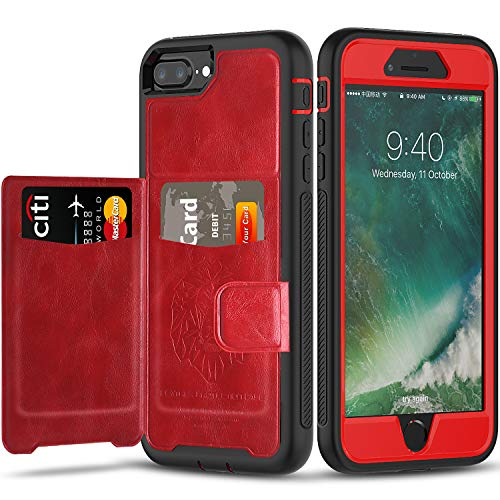 iPhone 6 7 8 Plus Case with Wallet,Full-Body Military Grade Protection Case with a Dual Layer Wallet designlot & Kickstand for iPhone 6 7 8 Plus 5.5 Inch. for Girl Women-Red+Black