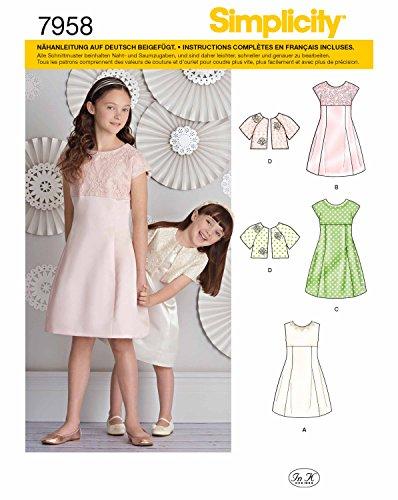 Simplicity 7958.K5 Schnittmuster Kleider (Kinder-Mädchen, Gr. 127 - 155)