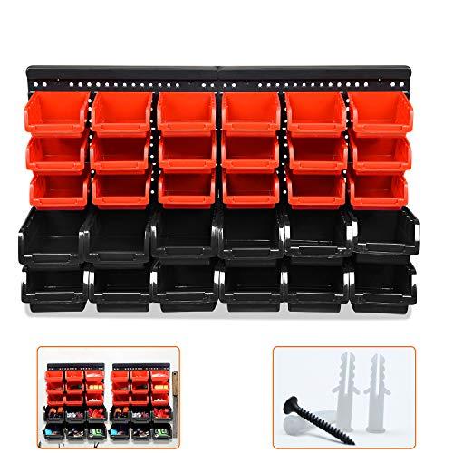 LZQ Wandregal + Stapelboxen 32 tlg Box Rot | extra starke Wandplatten | Regal erweiterbar | Werkstattregal Lagerregal Sortimentskasten Steckregal Sichtlagerkästen Kleinteilemagazin (Typ A)