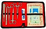 Juego de costura quirúrgica para heridas con modelo de piel resistente al desgarro, juego de costura para estudios, juego de ejercicios de costura para practicar técnicas de costura y coser heridas.