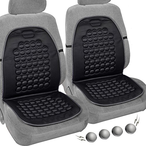 DLUX 007 Comfortable Set of 2 Premium Magnetic Bubble Car Seat Cushion- Massage Therapy - 2pc Padded Cover (Black) Product Name