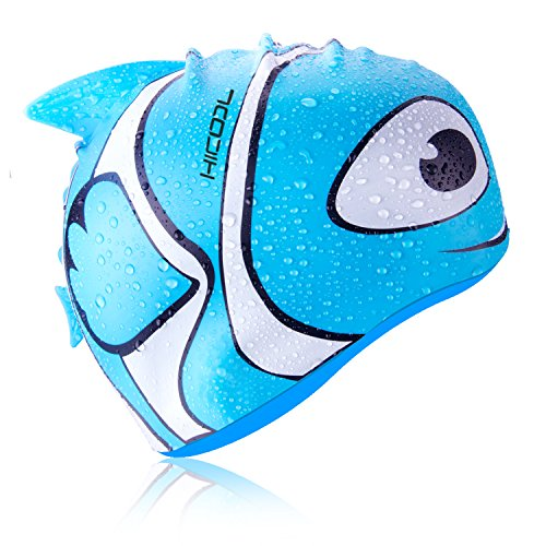 HiCool Kids Swim Cap, Fisher Series Waterproof Silicone Swim Cap Comfortable Durable Swimming Cap Keep Hair Dry with Anti-Slipping and Highly Elastic for Kids