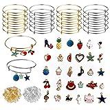 Stiesy - Juego de pulseras expansibles con anillos de salto y cuentas de esmalte mixto, pulseras ajustables de alambre para hacer joyas