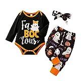 Mameluco con Estampado de Dibujos Animados para Bebé Pantalones con Estampado de Calabaza de Halloween Top de Manga Larga con Diadema con Lazo Juego de 3 Piezas para Bebésde 3-18 Meses