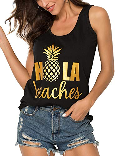 ZJP Women Casual Hola Beaches Letter Print Tanks Shirt Pineapple Print Tops Tee