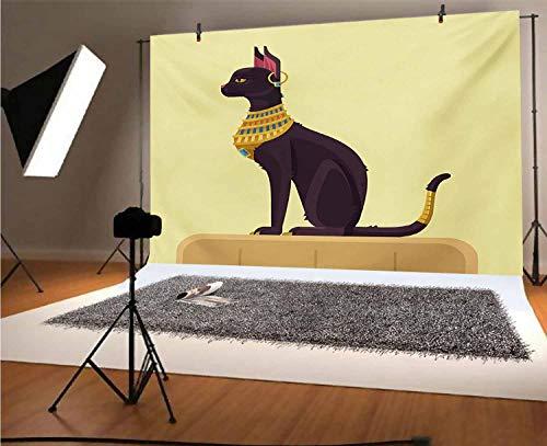 Fondo de vinilo Egipto de 15 x 10 pies, diseño de gato con pendiente de imagen para cumpleaños, boda, graduación, decoración del hogar