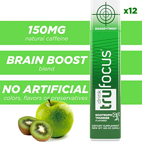 Tru Focus Shot, Natural Extra Strength Energy Shots, Brain Blend with Nootropic Stack (12 Shots)