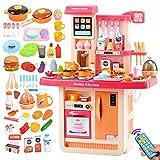BaoYPP Little Chef' Cocina de Juguete Set Juego Grande de plástico Cocina con Realista Sonidos de Las Luces Playset Accesorios Juego de rol (Color : Pink, Size : Height 75cm)