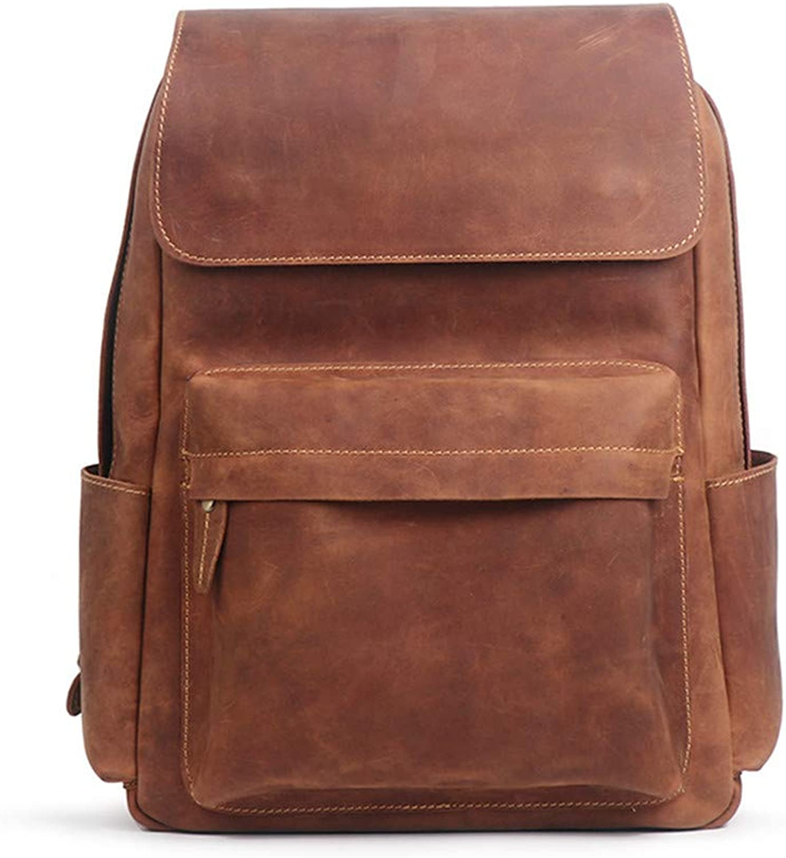 Large Capacity Travel Rucksack Briefcase Men's Leather Waterproof Backpack Portable Handbag Comfort Laptop Storage Backpack