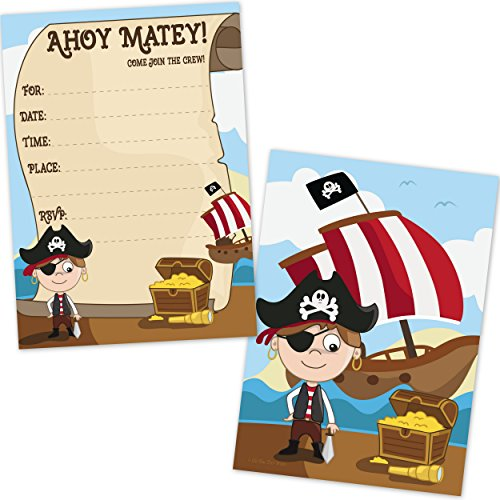 Kids Pirate Birthday Party Invitations for Boys