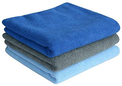 SINLAND Microfaser Handtuch Sporthandtuch Sports Towel Reisehandtuch 3 Stück 1Hellblau +1Dunkelblau +1Grau 33cm x 74cm