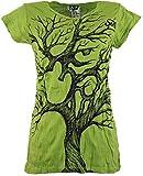 Guru-Shop Sure T-Shirt Om Tree, Damen, Lemon, Baumwolle, Size:M (38), Bedrucktes Shirt Alternative Bekleidung