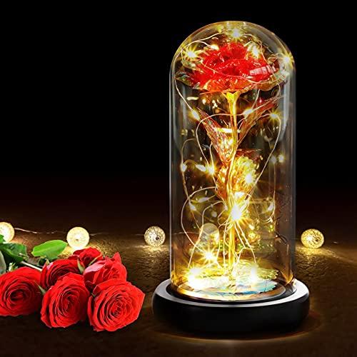 RANJIMA Bella y Bestia Rose, Kit de Rosas, Rosa Eterna Red Silk Rose en Dome Glass Rosa Bella y Bestia con Base para Cumpleaños Regalo, San Valentín, Aniversario, Regalos de Boda, Romántica Regalo