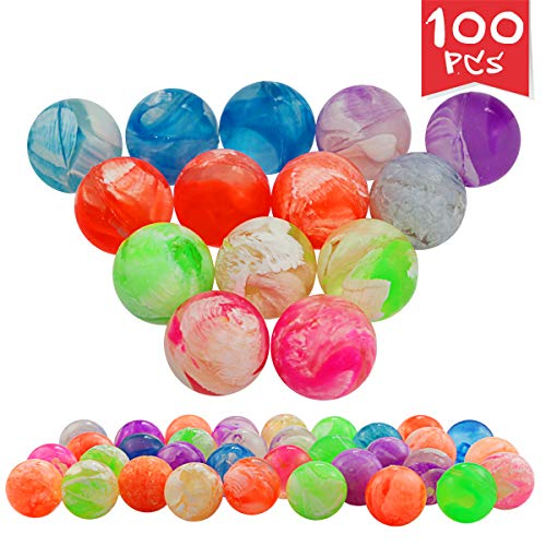 Agreatca 100 pcs Cloud 19 mm Bouncing Balls,Mini Neon Swirl Bouncing Balls,Neon Bouncing Balls Bulk Kit for Kids, Rubber Swirl Bouncing Balls