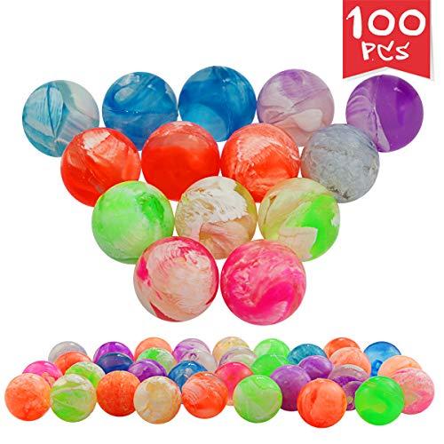 Agreatca 100 pcs Cloud 19 mm Bouncing BallsMini Neon Swirl Bouncing BallsNeon Bouncing Balls Bulk Kit for Kids, Rubber Swirl Bouncing Balls