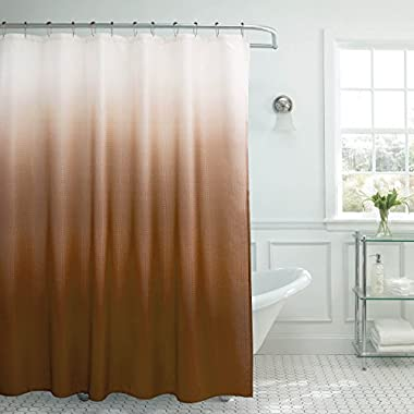 Creative Home Ideas Ombre Textured Shower Curtain with Beaded Rings, Chocolate