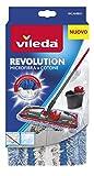 Vileda Revolution Ricambio Microfibra e Cotone, Panno Ricambio, Lavapavimenti, per Piastrelle e Vinile, con Anelli di Tessuto, Bianco