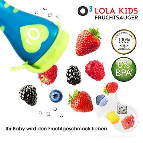 Lola Kids Fruchtsauger für Babys , 2 Fruchtsauger mit 6 Aufsatzkappen aus Silikon, Blau + Orange - 2