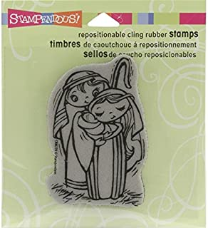 STAMPENDOUS Christmas Cling Rubber Stamp, 3.5 by 4-Inch, Nativity