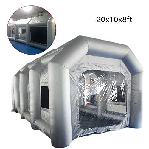 Munsinn Spray Booth, 20x10x8ft Car Inflatable Spray Paint Booth Inflatable Tent +Window Painting House Cover
