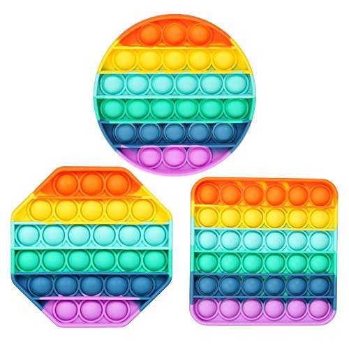 ASONA Circle & Square & Octagon Rainbow Pop Its Push Pop Bubble Fidget Sensory Toy Set, Push Popping Silicone Game Toy Anxiety Stress Reliever Autism Learning Materials for Kids Teens Adults (3 Pack)