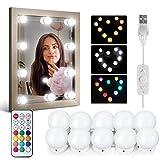 Luces Cosméticas del espejo DIY Lamparas Maquillaje IDESION Luces de espejo LED Kit 10 Bombillas Regulables Perfecto para Maquillaje,Tocador,Espejo,Baño,Regalo Fiesta,Habitacion - Varios colores